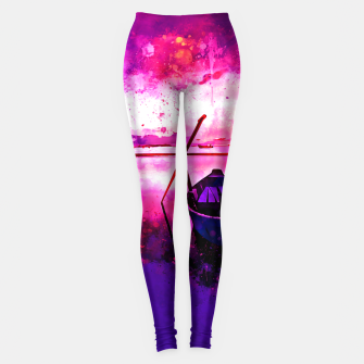 Thumbnail image of sunrise boat silence watercolor splatters Leggings, Live Heroes