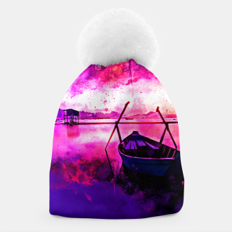 Thumbnail image of sunrise boat silence watercolor splatters Beanie, Live Heroes