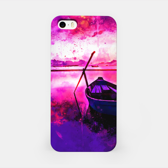 Thumbnail image of sunrise boat silence watercolor splatters iPhone Case, Live Heroes