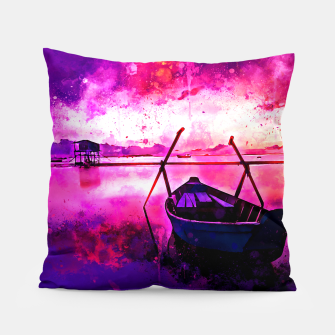 Thumbnail image of sunrise boat silence watercolor splatters Pillow, Live Heroes