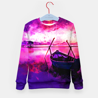 Thumbnail image of sunrise boat silence watercolor splatters Kid's sweater, Live Heroes