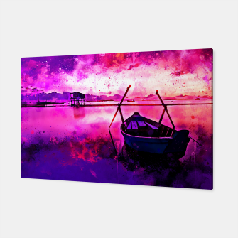 Thumbnail image of sunrise boat silence watercolor splatters Canvas, Live Heroes