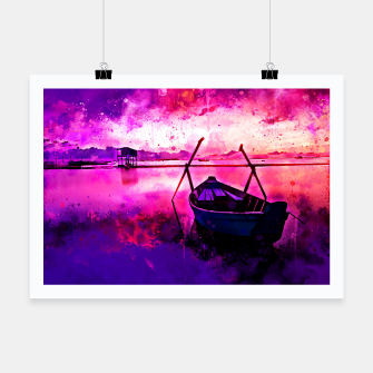 Thumbnail image of sunrise boat silence watercolor splatters Poster, Live Heroes