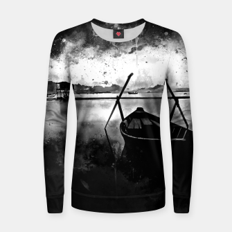 Thumbnail image of sunrise boat silence watercolor splatters black white Women sweater, Live Heroes