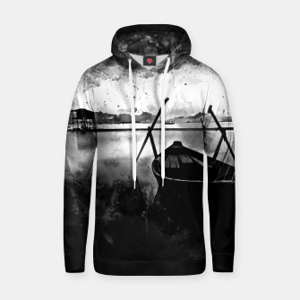 Thumbnail image of sunrise boat silence watercolor splatters black white Hoodie, Live Heroes