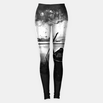 Thumbnail image of sunrise boat silence watercolor splatters black white Leggings, Live Heroes