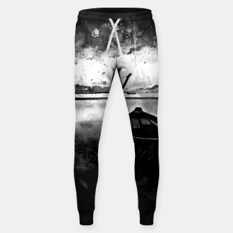 Thumbnail image of sunrise boat silence watercolor splatters black white Sweatpants, Live Heroes