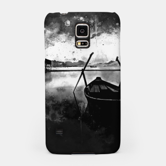 Thumbnail image of sunrise boat silence watercolor splatters black white Samsung Case, Live Heroes