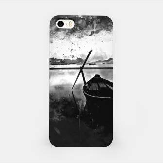 Thumbnail image of sunrise boat silence watercolor splatters black white iPhone Case, Live Heroes
