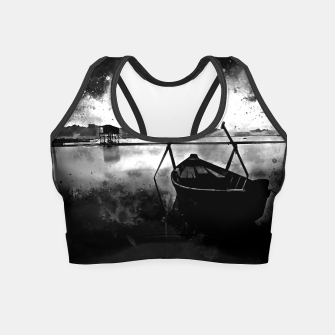 Thumbnail image of sunrise boat silence watercolor splatters black white Crop Top, Live Heroes