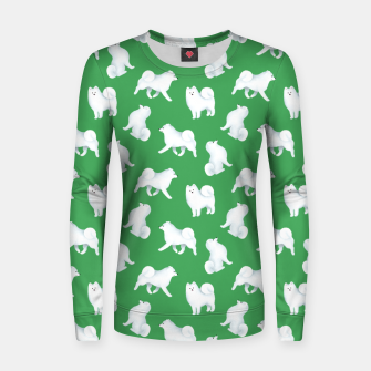 Thumbnail image of Samoyed Pattern (Green Background) Women sweater, Live Heroes