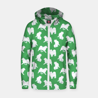Miniaturka Samoyed Pattern (Green Background) Zip up hoodie, Live Heroes