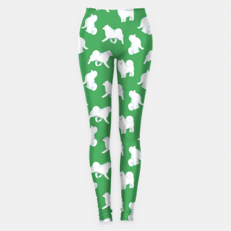 Thumbnail image of Samoyed Pattern (Green Background) Leggings, Live Heroes