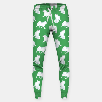 Thumbnail image of Samoyed Pattern (Green Background) Sweatpants, Live Heroes