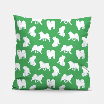 Miniatur Samoyed Pattern (Green Background) Pillow, Live Heroes