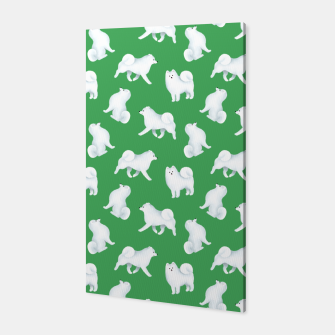 Thumbnail image of Samoyed Pattern (Green Background) Canvas, Live Heroes