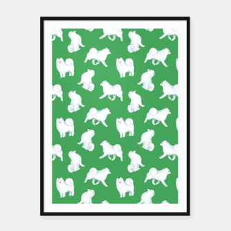 Thumbnail image of Samoyed Pattern (Green Background) Framed poster, Live Heroes