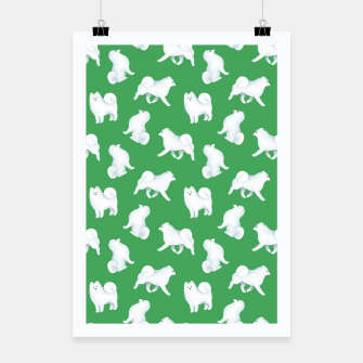 Thumbnail image of Samoyed Pattern (Green Background) Poster, Live Heroes