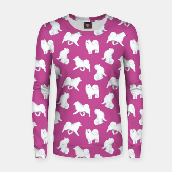 Thumbnail image of Samoyed Pattern (Berry Background) Women sweater, Live Heroes