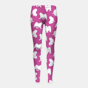 Thumbnail image of Samoyed Pattern (Berry Background) Girl's leggings, Live Heroes