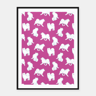 Thumbnail image of Samoyed Pattern (Berry Background) Framed poster, Live Heroes