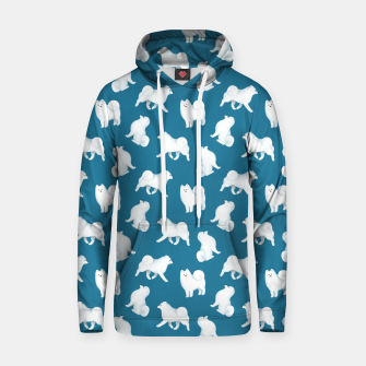 Thumbnail image of Samoyed Pattern (Blue Background) Hoodie, Live Heroes