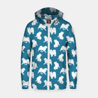 Miniaturka Samoyed Pattern (Blue Background) Zip up hoodie, Live Heroes