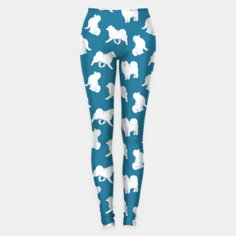 Thumbnail image of Samoyed Pattern (Blue Background) Leggings, Live Heroes