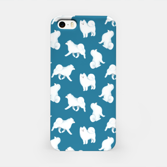 Miniatur Samoyed Pattern (Blue Background) iPhone Case, Live Heroes