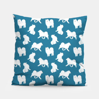 Miniatur Samoyed Pattern (Blue Background) Pillow, Live Heroes