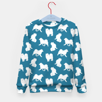 Thumbnail image of Samoyed Pattern (Blue Background) Kid's sweater, Live Heroes