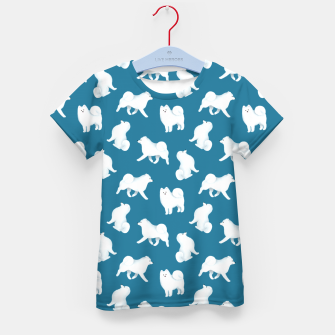 Thumbnail image of Samoyed Pattern (Blue Background) Kid's t-shirt, Live Heroes