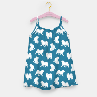 Thumbnail image of Samoyed Pattern (Blue Background) Girl's dress, Live Heroes