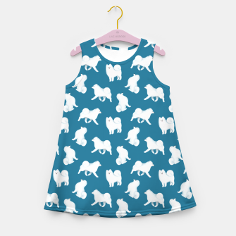 Thumbnail image of Samoyed Pattern (Blue Background) Girl's summer dress, Live Heroes