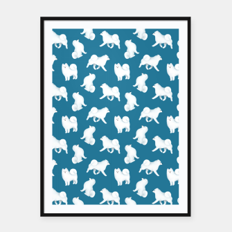 Thumbnail image of Samoyed Pattern (Blue Background) Framed poster, Live Heroes