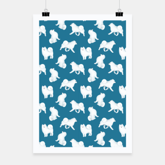 Thumbnail image of Samoyed Pattern (Blue Background) Poster, Live Heroes
