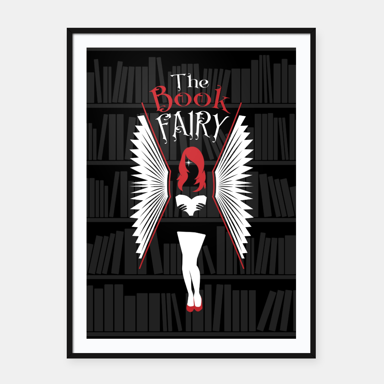 Image of The Book Fairy bookish gift for girls and women Framed poster - Live Heroes