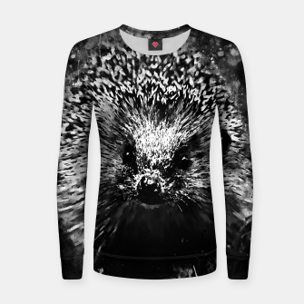 Miniatur hedgehog watercolor splatters black white Women sweater, Live Heroes
