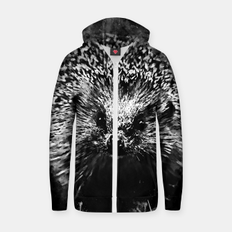 Miniaturka hedgehog watercolor splatters black white Zip up hoodie, Live Heroes