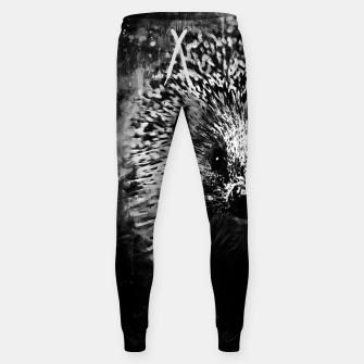 Thumbnail image of hedgehog watercolor splatters black white Sweatpants, Live Heroes