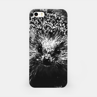 Miniatur hedgehog watercolor splatters black white iPhone Case, Live Heroes