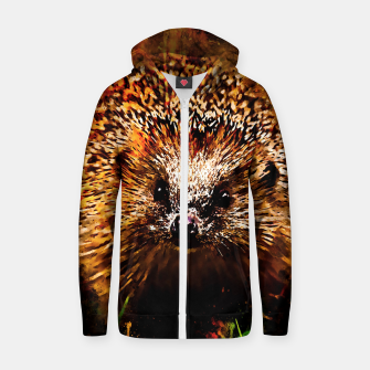 Miniaturka hedgehog watercolor splatters Zip up hoodie, Live Heroes