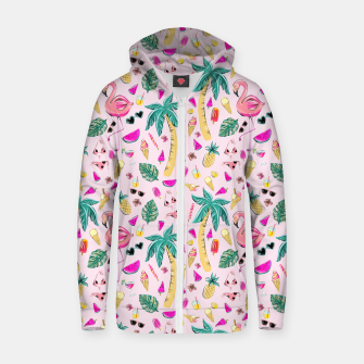Pink Summer Vacation Sticker Print Zip up hoodie imagen en miniatura