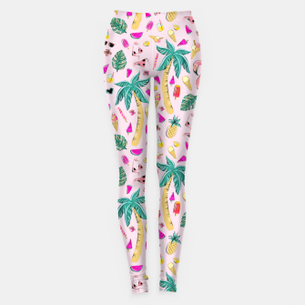 Miniatur Pink Summer Vacation Sticker Print Leggings, Live Heroes