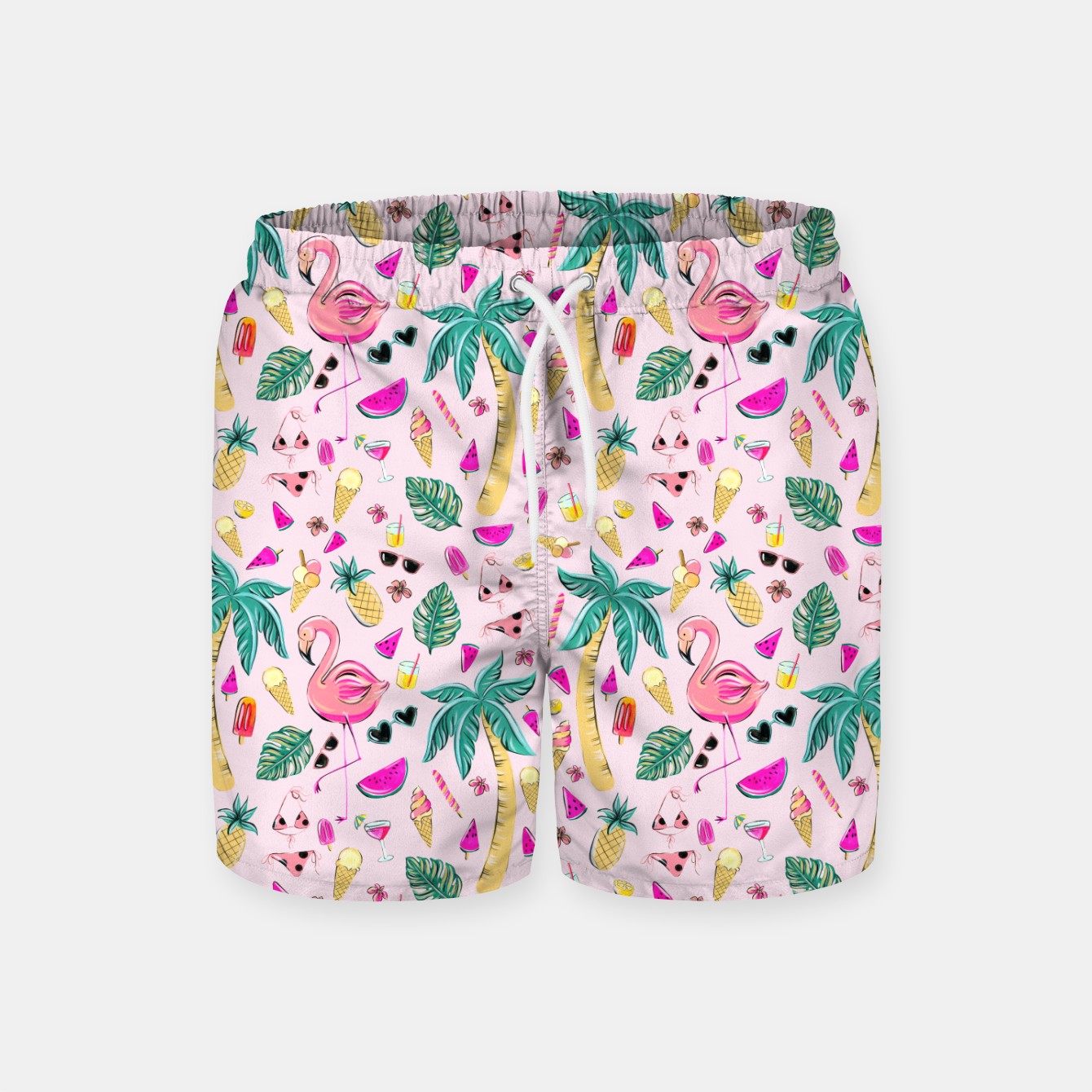 Imagen de Pink Summer Vacation Sticker Print Swim Shorts - Live Heroes