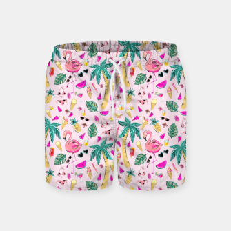 Pink Summer Vacation Sticker Print Swim Shorts imagen en miniatura
