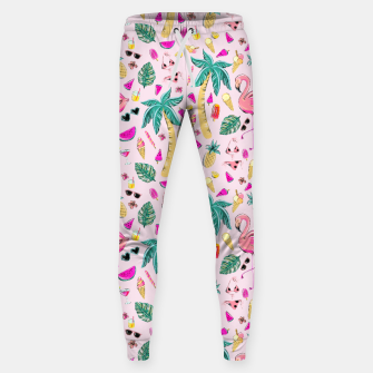 Miniatur Pink Summer Vacation Sticker Print Sweatpants, Live Heroes