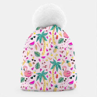 Pink Summer Vacation Sticker Print Beanie imagen en miniatura