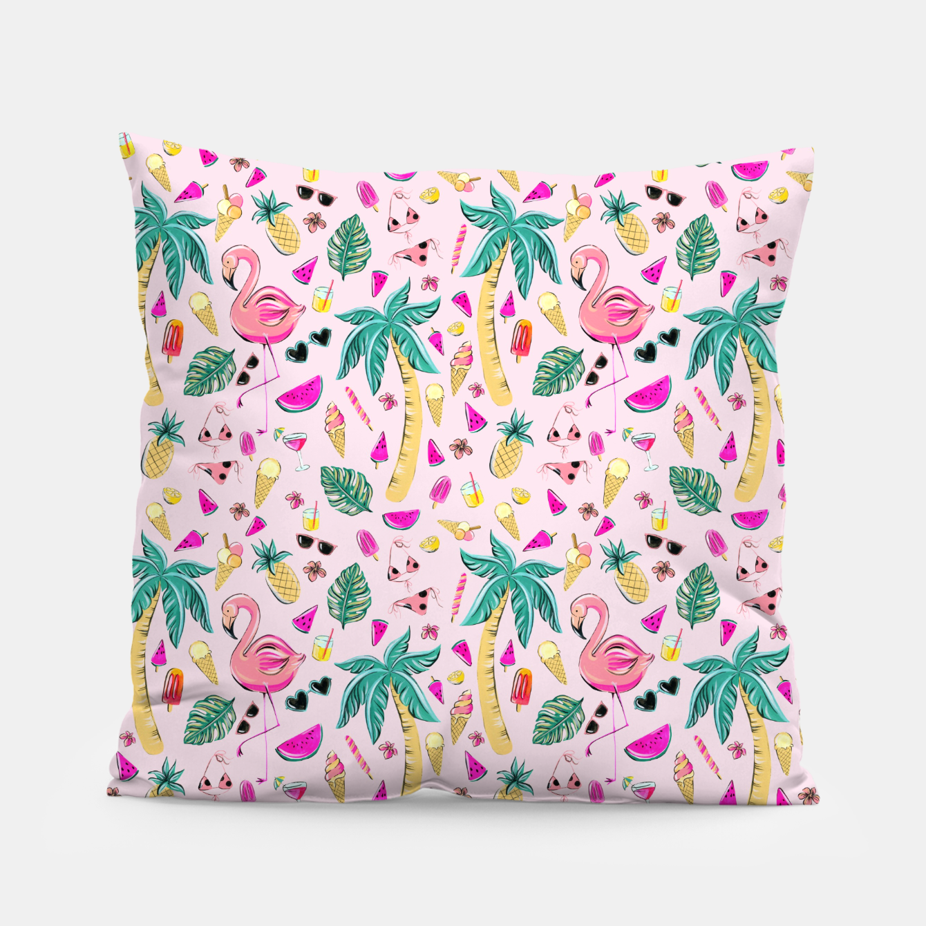 Imagen de Pink Summer Vacation Sticker Print Pillow - Live Heroes
