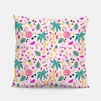 Miniatur Pink Summer Vacation Sticker Print Pillow, Live Heroes